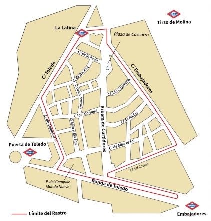 Mapa del Rastro de Madrid
