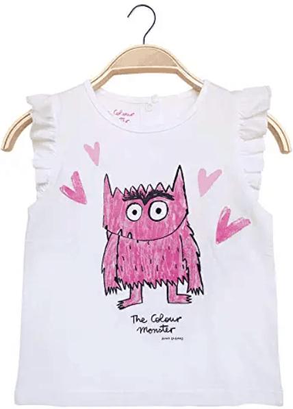 camiseta monstruo de colores rosa