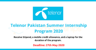 Telenor Paid Internship Program in Summer 2020