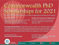 Commonwealth PhD Scholarship 2021