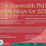 Commonwealth PhD Scholarship 2021