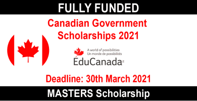 canadian government scholarships 2021 for masters