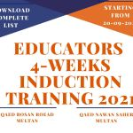 Educators 4-Weeks induction training 2021