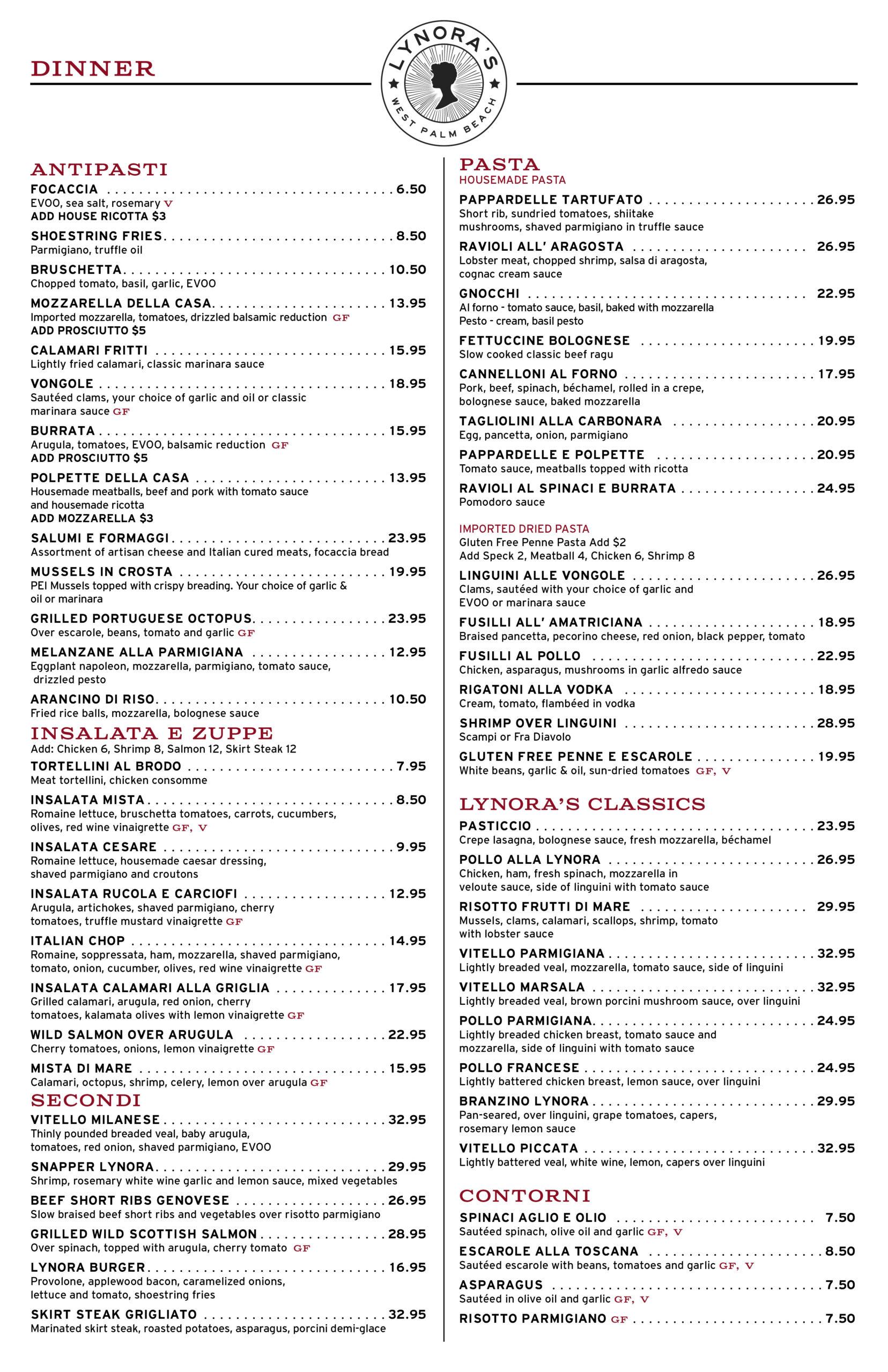 Lynoras Dinner Menu WPB 031221
