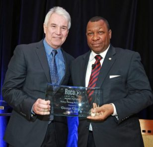 San Fran District Attorney George Gascón delivered the keynote address acknowledging that the current criminal justice system needs to be held accountable as much as the people it punishes. Pictured here with Suffolk County Sheriff Steve Tompkins.