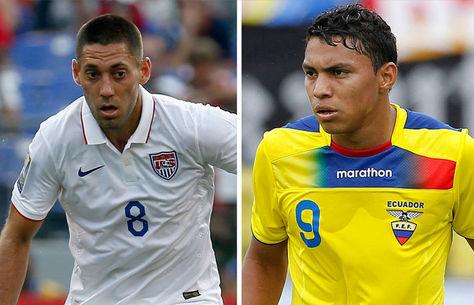 Clint Dempsey de EEUU y Jefferson Montero de Ecuador.