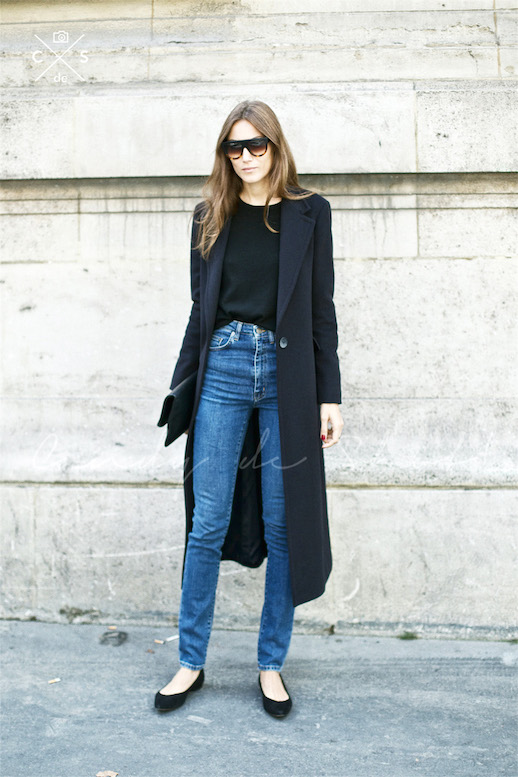 le-fashion-blog-winter-street-style-paris-fashion-week-giorgia-tordini-black-maxi-coat-high-waisted-denim-pointed-toe-flats-via-candy-de-shot