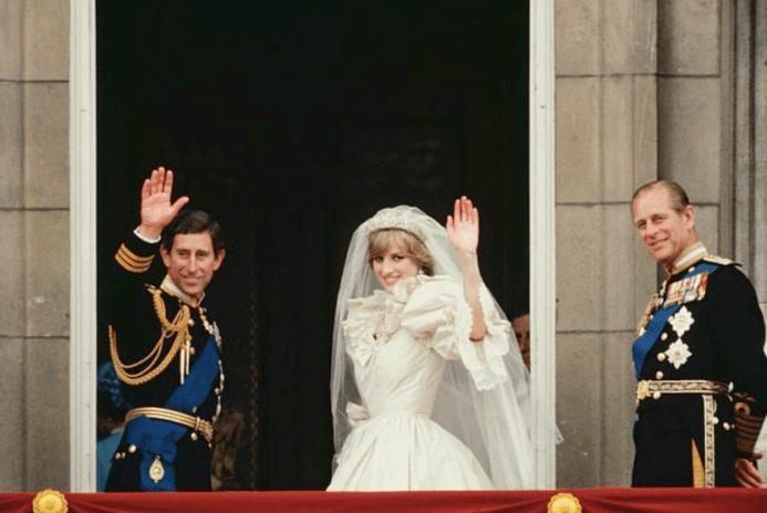 El príncipe Carlos, la princesa Diana y Felipe de Edimburgo.