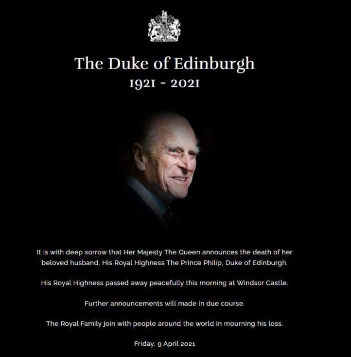 """La reina ha anunciado, con gran pesar, que su esposo ha fallecido """"pacíficamente"""" en el castillo de Windsor este viernes por la mañana."""