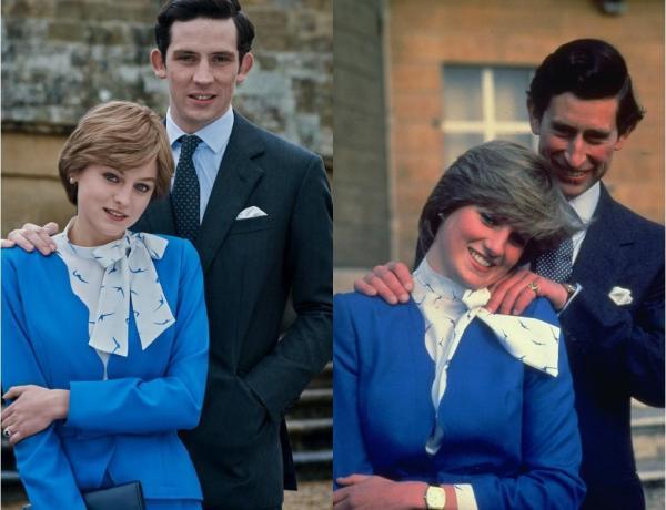 Lady Di y el Principe Carlos The Crown comparación con imagen original
