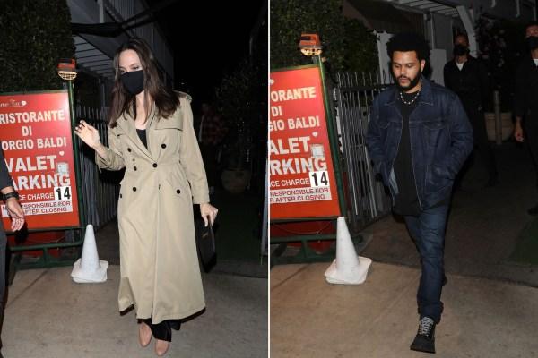 Angelina Jolie y The Weeknd cenando en Santa Monica