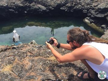 Peter fotografiando piquero de patas azules elmundoenlamochila.com