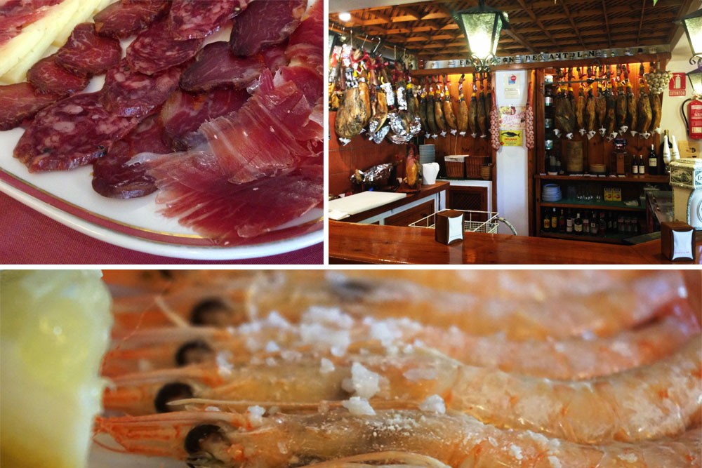 Jamones, langostinos y piernas de jamones en la pared de un restaurante