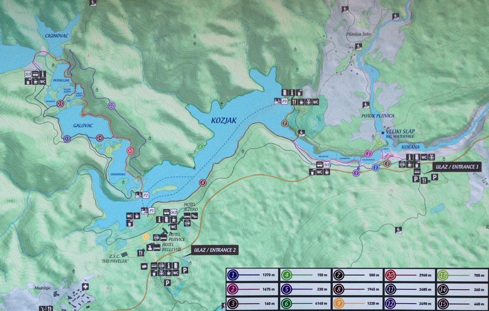 Mapa de senderos del Parque Nacional de los Lagos de Plitvice