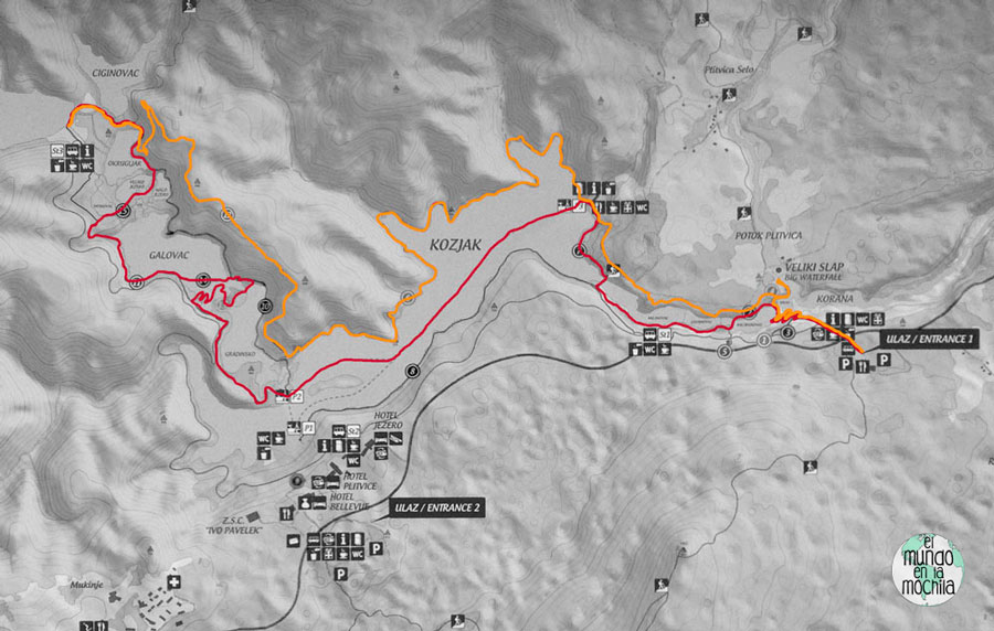 La mejor ruta para recorrer el Parque Nacional de los Lagos de Plitvice, en rojo la ida y en naranja la vuelta. elmundoenlamochila