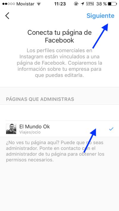 Instagram for business -escoger la cuenta de Facebook a usar