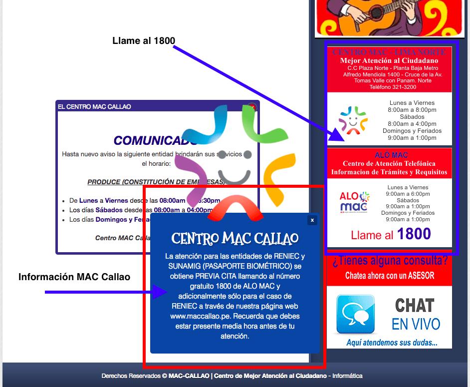 Información MAC. Llamar al 1800 para sacar cita para el pasaporte biométrico del Perú.