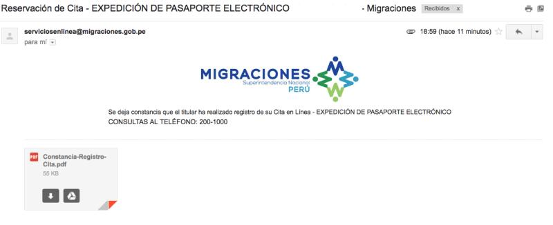 Email de confirmación de cita para pasaporte electrónico peruano.