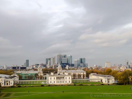 Vistas desde la colina junta al Real Observatorio de Greenwich.