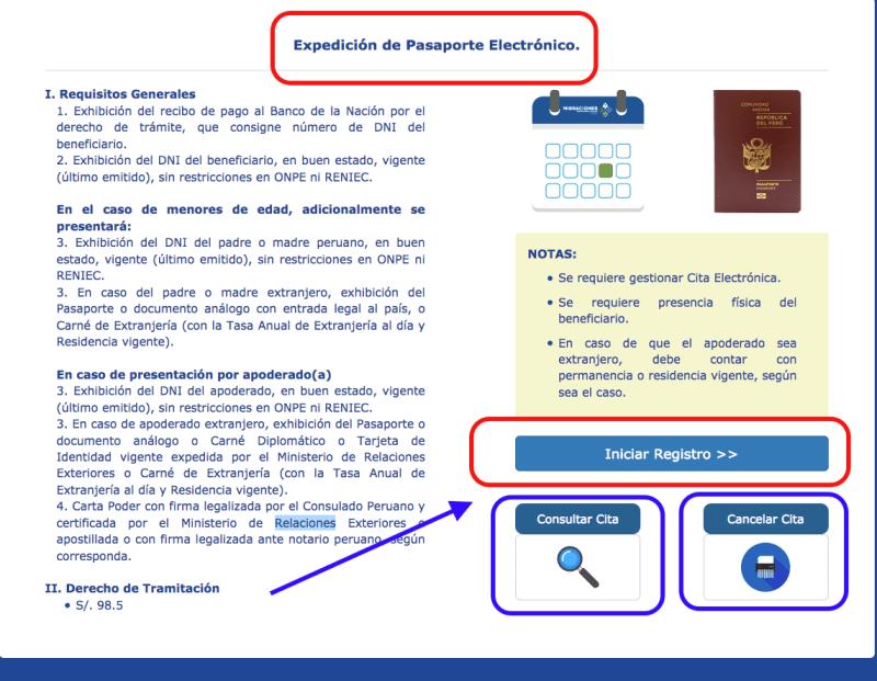 Paso 1: Cita para obtener el pasaporte electrónico peruano.