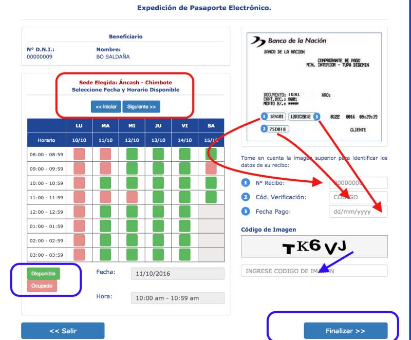 Paso 3: Esciger la fecha y hora de la cita para obtener el pasaporte electrónico peruano.