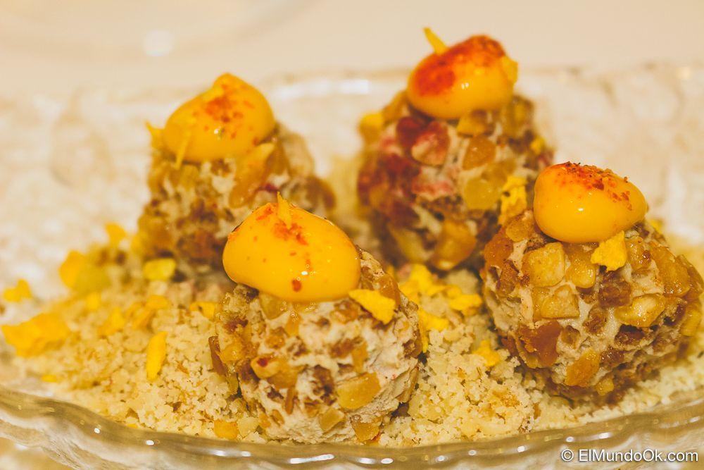 Bombones de foie con mango picual. Restaurante Hotel Rosaleda en Úbeda.