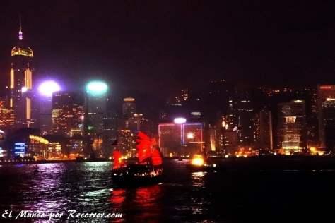 Vista nocturna de la isla de Hongkong