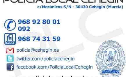 La Policía Local de Cehegín sorprende a tres varones robando en un almacén de la Mancomunidad de Canales del Taibilla