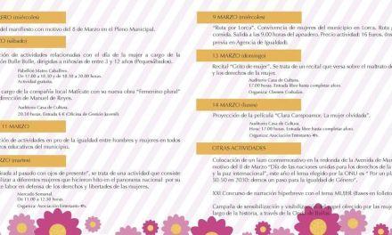 Teatro, talleres, cine son algunas de las actividades para conmemorar en Bullas el Día Internacional de la Mujer