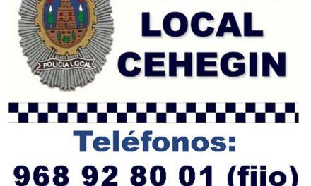 Seguridad Ciudadana de Cehegín ofrece consejos para que  no seamos víctimas de delitos