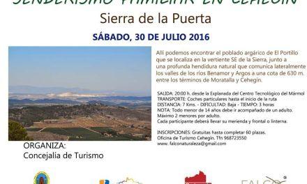 """La Sierra de la Puerta,  destino este mes de julio para las rutas de """"Senderismo Familiar"""" de Cehegín"""