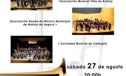 """El XVI Festival de Bandas de Música, """"Ciudad de Cehegín"""",  se celebra el próximo sábado, 27 de agosto, con la participación de Bullas y Molina de Segura"""