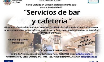 """La Concejalía de Desarrollo Local de Cehegín organiza el curso """"Servicios de bar y cafetería"""", Nivel 2, destinado para desempleados"""