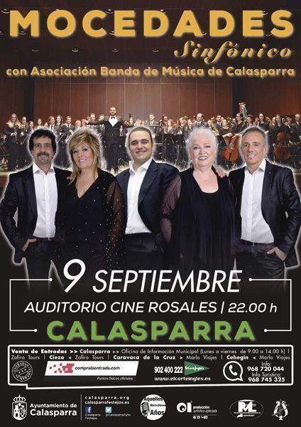 Mocedades actúa en la Feria de Septiembre en su 45º aniversario en compañía de la Asociación Banda de Música de Calasparra