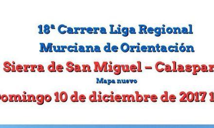 Calasparra acoge el 10 de diciembre una prueba de la Liga Regional de Orientación