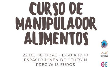 La Concejalía de Juventud de Cehegín oferta un curso de Manipulador de Alimentos para el lunes 22 de octubre