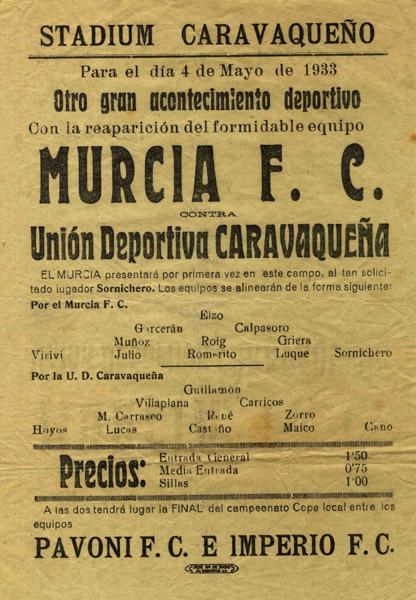 Publicidad del partido contra en Murcia F. C., 4 de mayo de 1933
