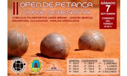 El segundo Open de Petanca 'Ciudad de Begastri' se disputará el sábado, 7 de septiembre