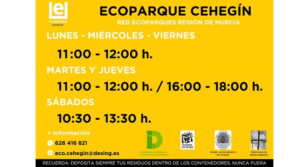 Nuevos horarios de apertura del Ecoparque de Cehegín