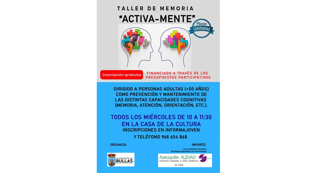 """""""Activa-mente"""", un taller en Bullas preventivo de entrenamiento de la memoria"""