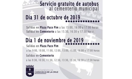 El Ayuntamiento de Caravaca facilita el transporte gratuito al Cementerio Municipal los días 31 de octubre y 1 de noviembre