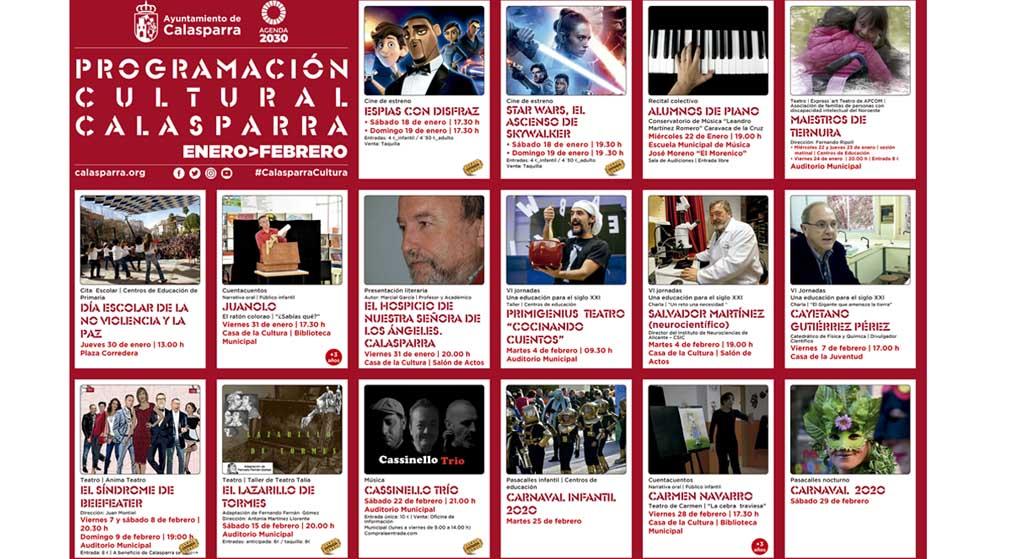 Talleres y música para todos los públicos, cuentacuentos, cine de estreno, charlas… en la programación cultural de invierno en Calasparra