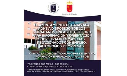 El Ayuntamiento de Caravaca activa un servicio de atención a pymes, autónomos y trabajadores