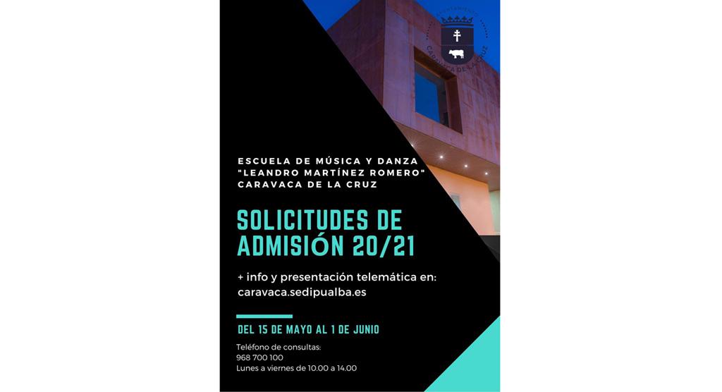 Abierto hasta el 1 de junio el plazo de admisión en las más de veinte modalidades de estudio de la Escuela Municipal de Música y Danza de Caravaca