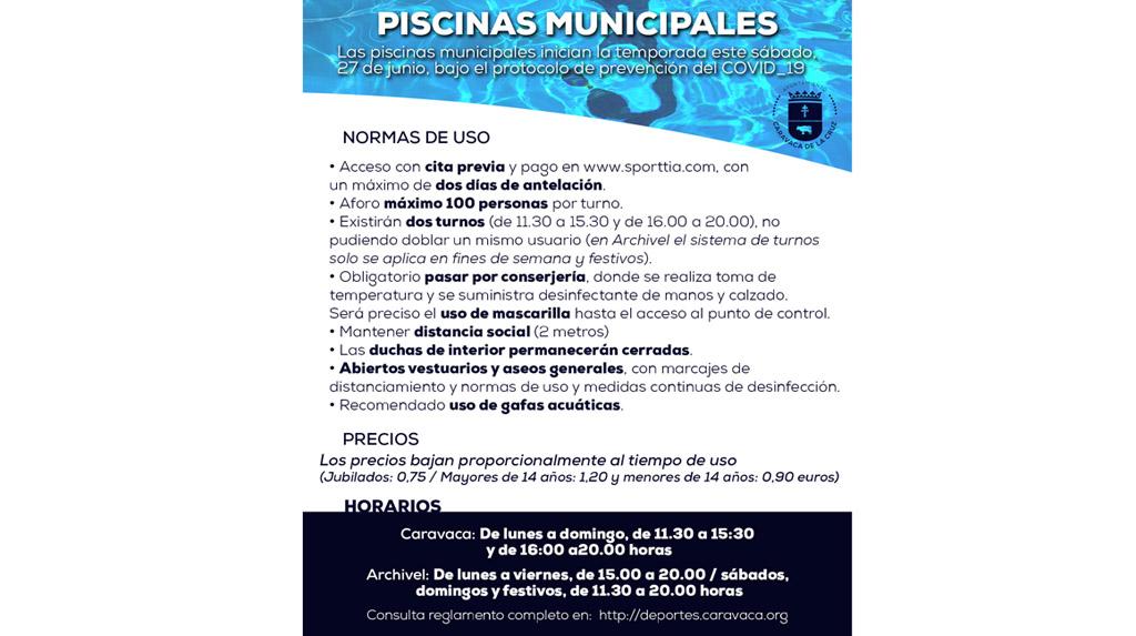 Las piscinas municipales de Caravaca y Archivel abren este sábado, 27 de junio, con limitación de aforo y medidas de seguridad para la prevención del COVID-19