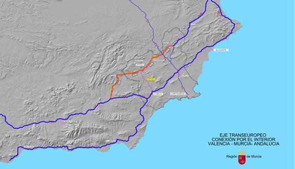 Plano de la propuesta del Corredor interior con Andalucía elaborado por la Comunidad Autónoma.
