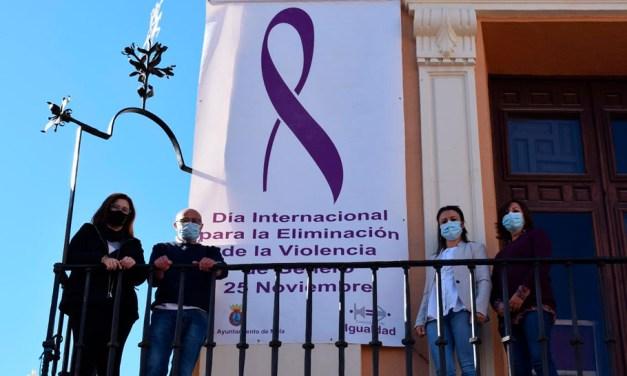 Un gran lazo violeta da visibilidad desde la fachada del Ayuntamiento al Día Internacional contra la Violencia de Género
