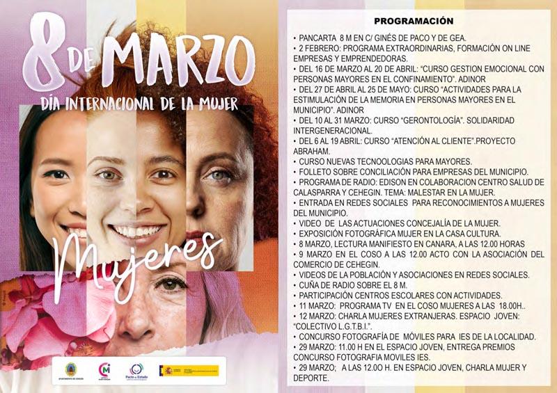 Presentada en Cehegín la programación de actividades con motivo del Día Internacional de la Mujer.