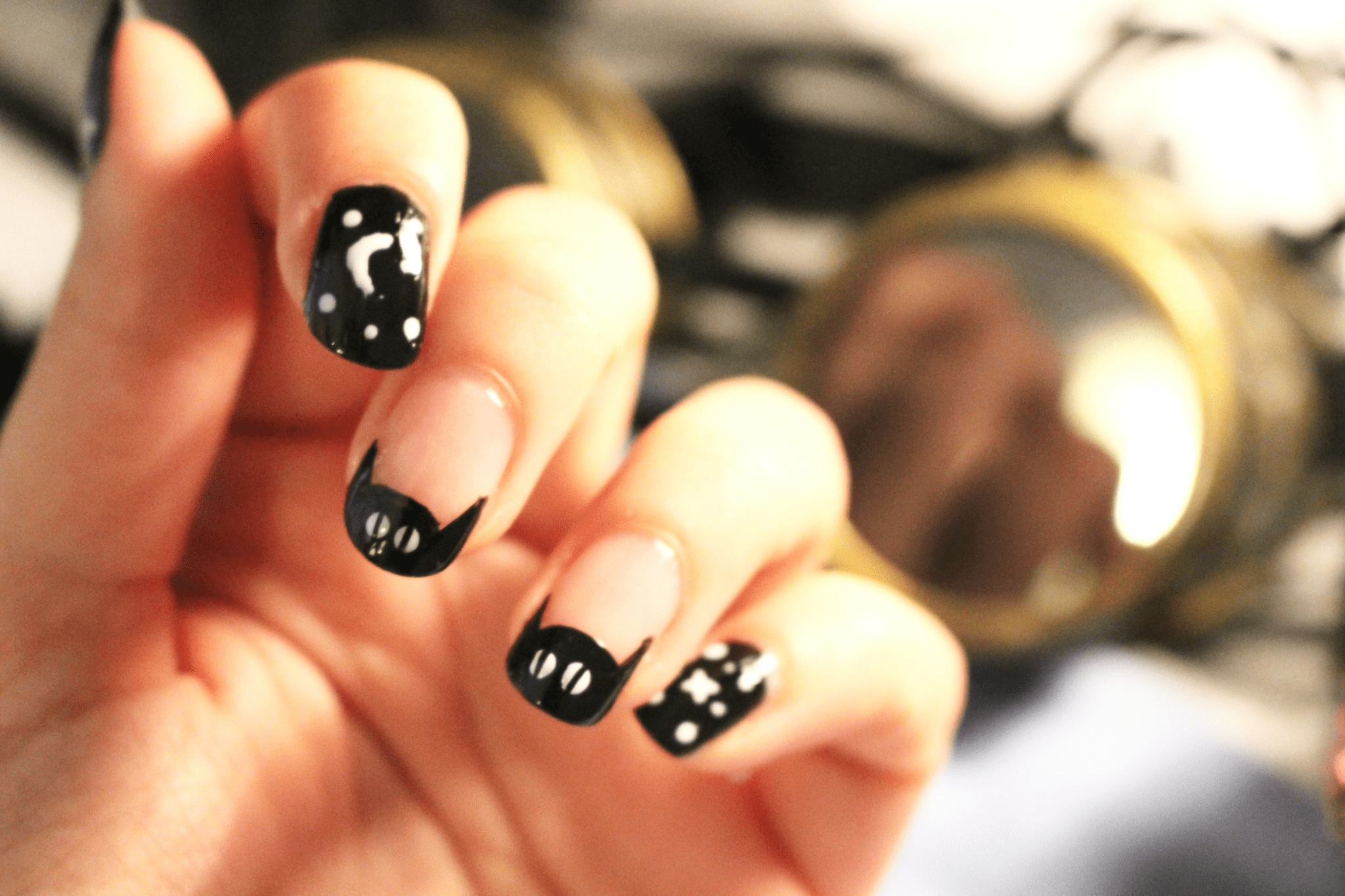 CAT & GALAXY Halloween nail art