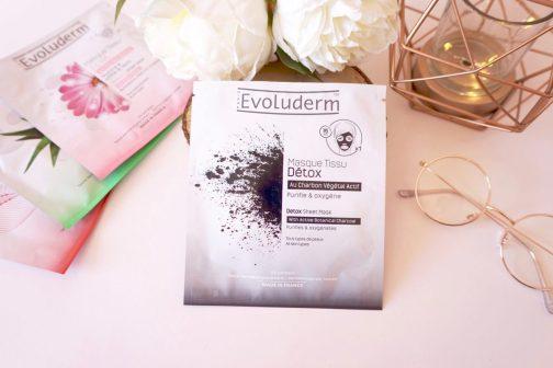 Revue Masques en tissu Evoluderm charbon végétal détox